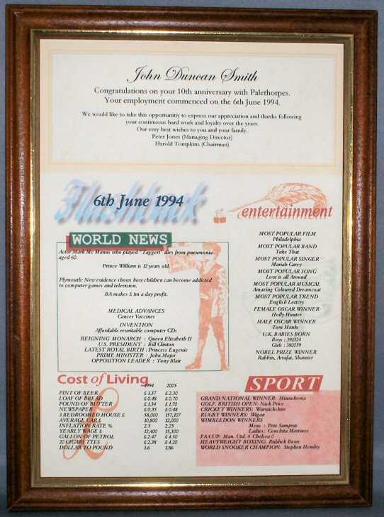 Anniversary Celebration Certificate in Teak Frame