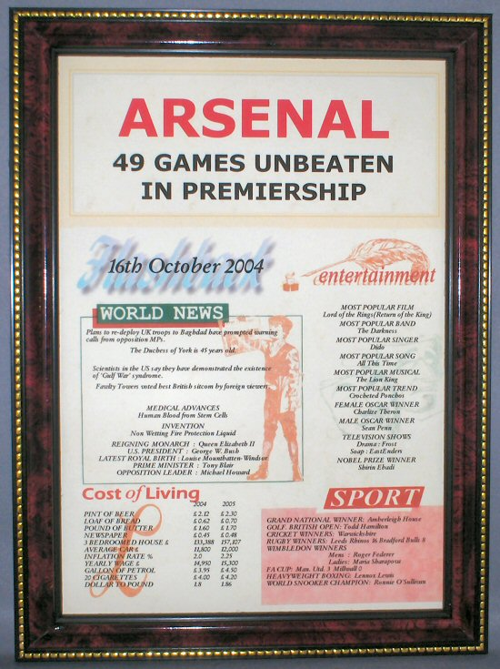 Arsenal Unbeaten Certificate in Mahogany Frame