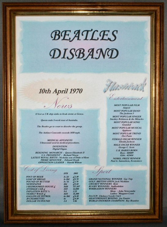 Beatles Disband Certificate in Medium Wood Safety