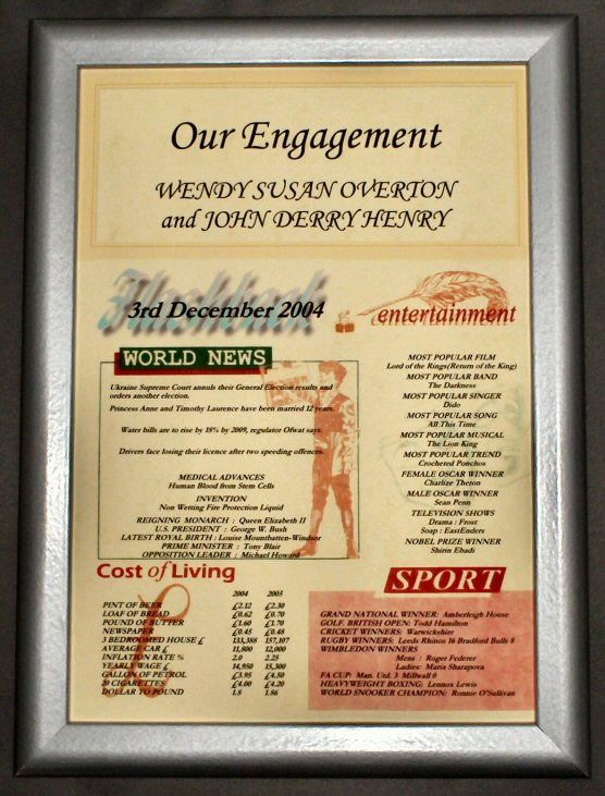 Engagement Gift Certificate in Silver Frame