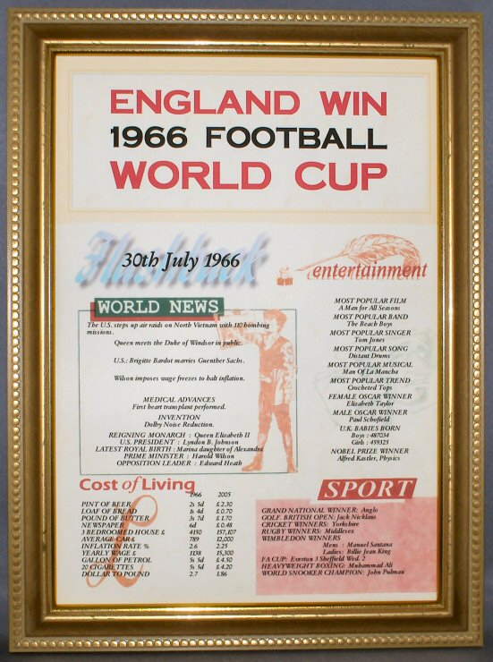 Football 1966 World Cup Certificate in Gold Frame
