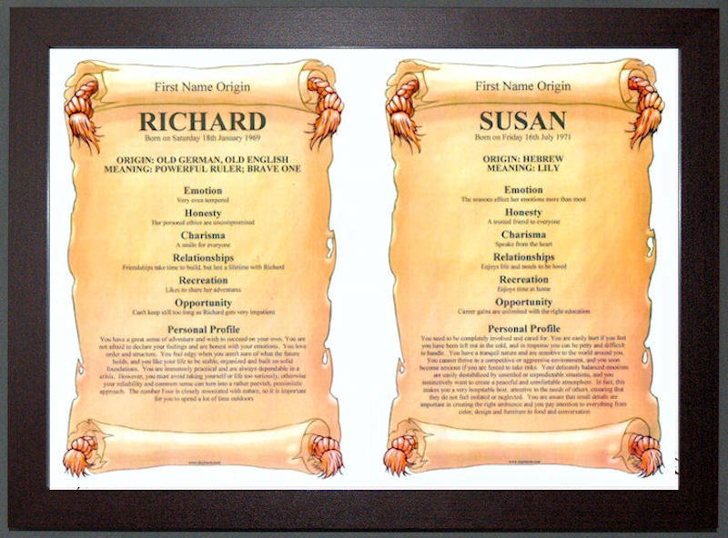 DUAL FIRST NAMES MEANING SCROLLS  /& ORIGIN GIFT IDEA