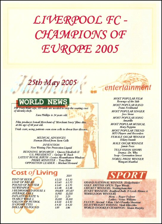 Liverpool FC European Football Champions 2005 Certificate