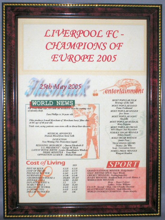 Liverpool FC Euro Champions 2005 in Mahogany Style Frame