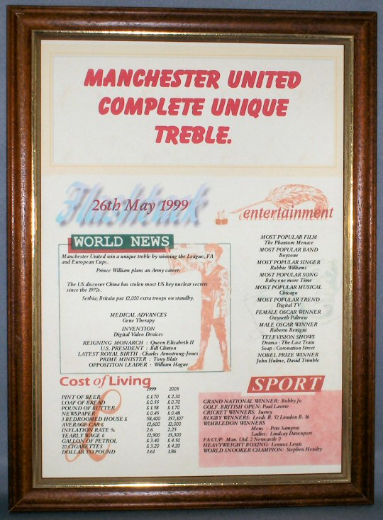Man United Complete Unique Football Treble - Teak Frame