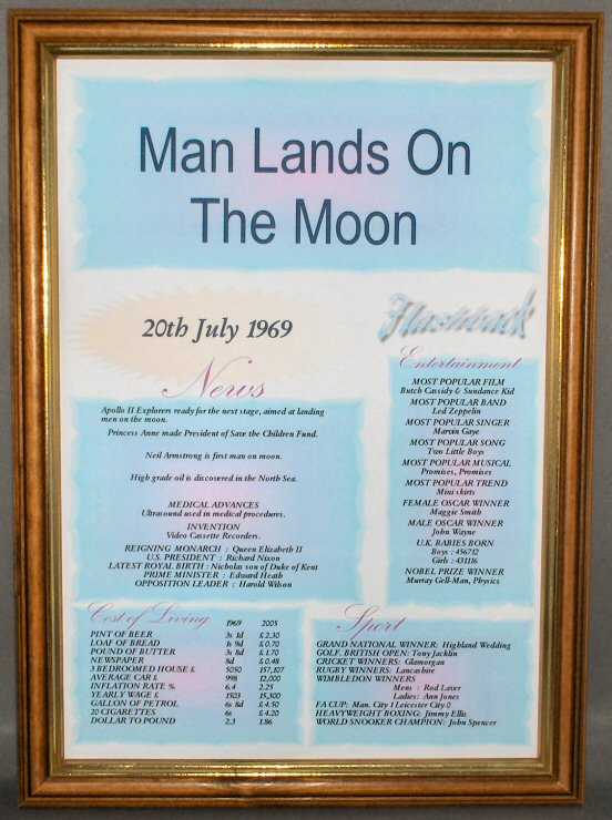 Man Lands on the Moon Certificate in Medium Wood Frame with Safety Glass