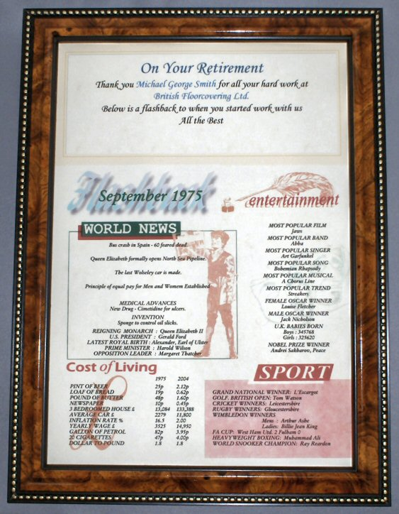 Retirement Certificate in Walnut Frame