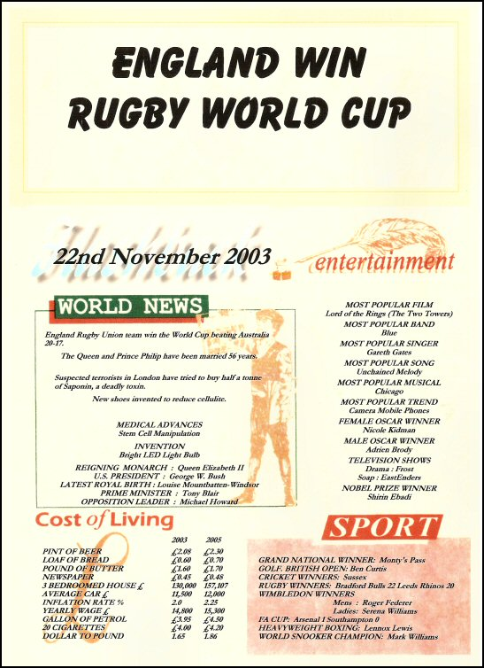 Rugby England Winners World Cup 2003 Certificate