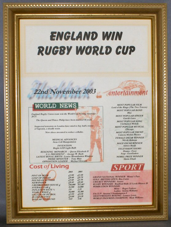 Rugby England World Cup 2003 Certificate in Gold Frame