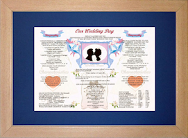 Beech Style A3 Frame & Mount Version - Our Wedding Day Chart.