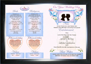 Economy Framed Version Wedding Day Gift Certificate.