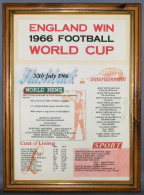 Football World Cup 1966 Certificate in Medium Wood Frame with Acrylic Glass
