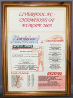 Liverpool Football Club Champions of Europe 2005 in Medium Wood Frame Safety Glass