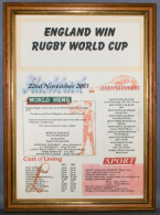 England Win Rugby World Cup 2003 in Medium Wood Frame (Acrlic Glass)