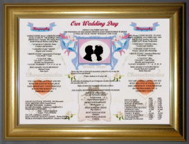 Our Wedding Day Anniversay Gift in Dome Gold Frame