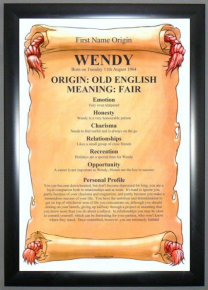 Economy Framed First Name Origin & Meaning Gift