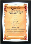 Eco Black Framed Name Origin Meaning Chart.