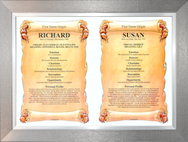 Premium Silver Framed - Dual Name Meaning Chart.