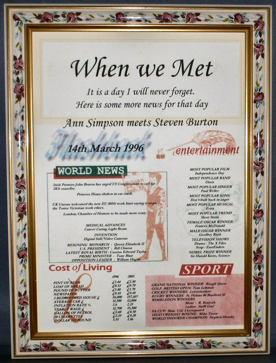 When We Met Certificate in Roses Frame